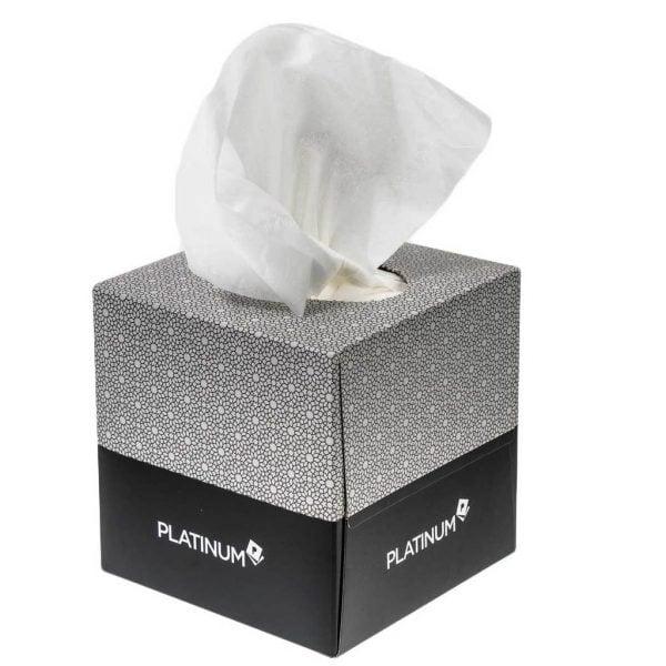Platinum facial tissues 2 ply 90 sheet cube box - carton of 24