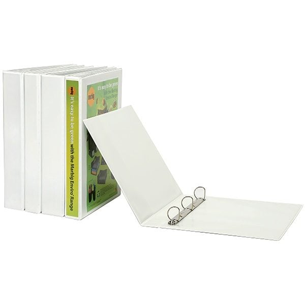 Marbig Binder Clearview Insertable A4 3 Ring D 25mm Marbig 5403008B White