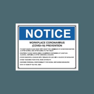 Worplace Coronavirus (COVID-19) Prevention sign